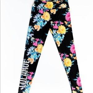 Lularoe TC black floral retailer leggings